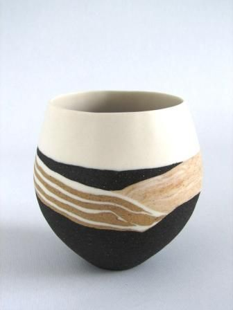 """Waiting for rain. Sue scobie 2012 """" to capture the essence of our wild places in my works.  They are intended for quiet contemplation in a world which is far too busy.   All my current work is hand-formed by pinching and coiling using combinations of coloured porcelain and stoneware clays.  Surfaces are highly tactile, with the silky, translucent porcelain contrasting with the rough, gritty stoneware"""""""