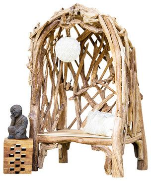 Hong's Temple Teak Arbor Bench - eclectic - Outdoor Stools And Benches - The Birdhouse Chick