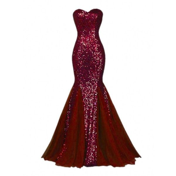 Raniwish Sparkly Evening Prom Ball Gown Sequins Mermaid Long Formal... ($60) ❤ liked on Polyvore featuring dresses, gowns, long white gown, formal gowns, white cocktail dress, long sequin gown and long evening gowns