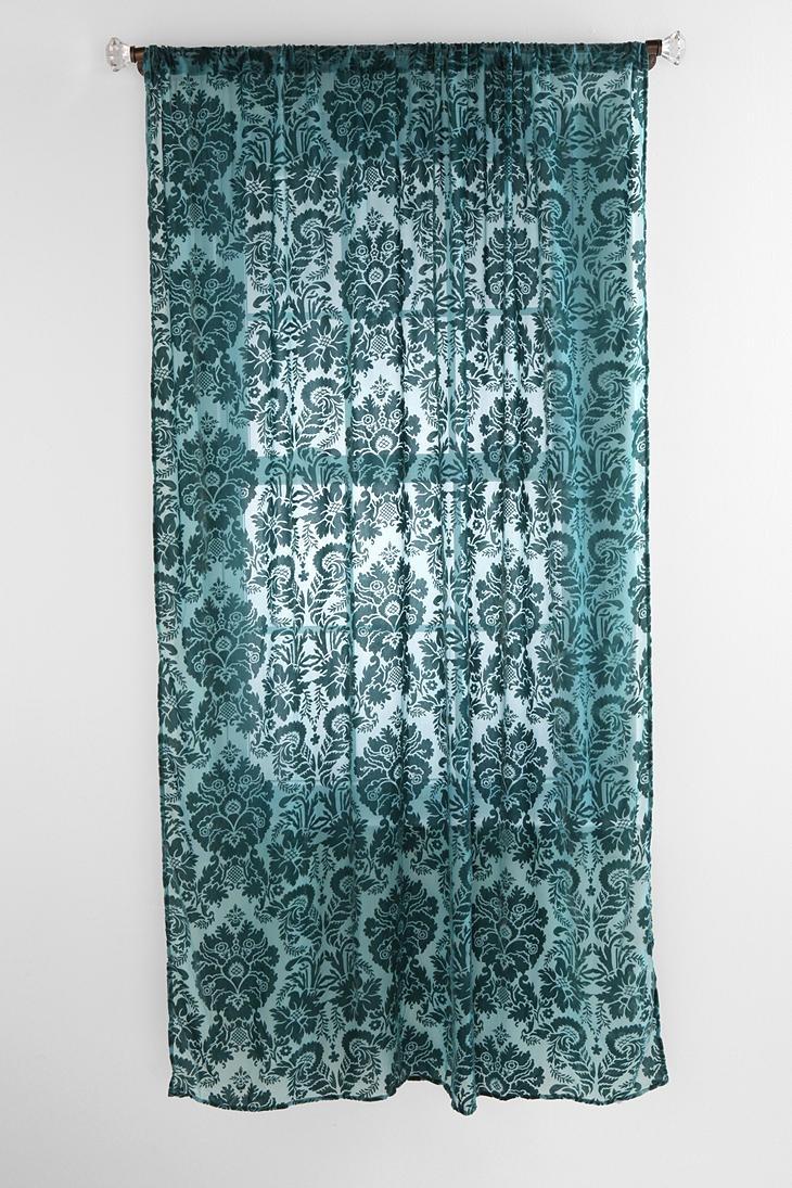Damask bedroom curtains - Bedroom Damask Velvet Burnout Curtain