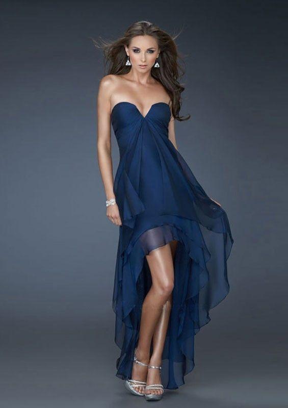 A-line Senza Spalline Stile impero Asimmetrico Chiffon Prom Dresses