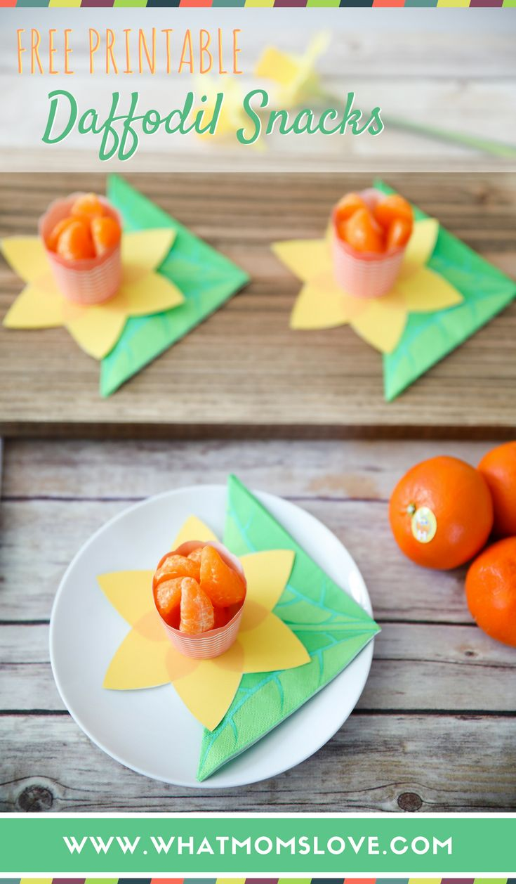 Healthy Spring Snacks for kids | These free printable Daffodil Snack Cups are such a cute, easy treat to make for children aged toddlers to teens. Perfect for clean eating - no added sugar with just fruit! Make for your kids to take to preschool or school as a fun, quick snack. These would work great as a healthy Easter snack as well.