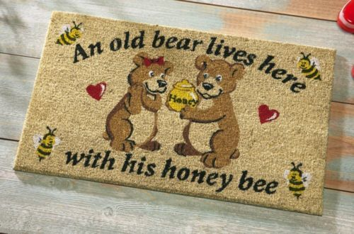 New Old Bear Amp His Honey Live Here Rug Area Wildlife Front