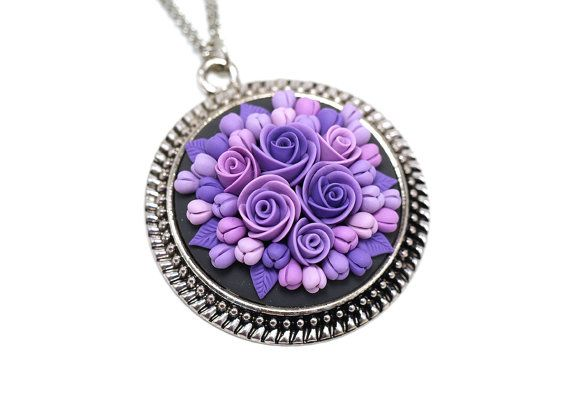 Floral pendant necklace Polymer Clay Pendant Necklace Polymer Clay Jewelry Fashion Jewelry Clay Jewelry Clay Flowers Purple Pendant Gift  If you need matching earrings (or ring) please contact me.  This bright pendant necklace is a perfect option for those who are in search of an extraordinary gift. This necklace is one of a kind as each flower, leaf, little details is made by hand in a special technique so you can be sure that you are an owner of really unique pendant necklace with elegant…