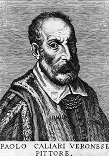 Incisione di Carlo Ridolfi che precede il capitolo dedicato al Veronese ne Le vite degli illustri Pittori Veneti del 1648
