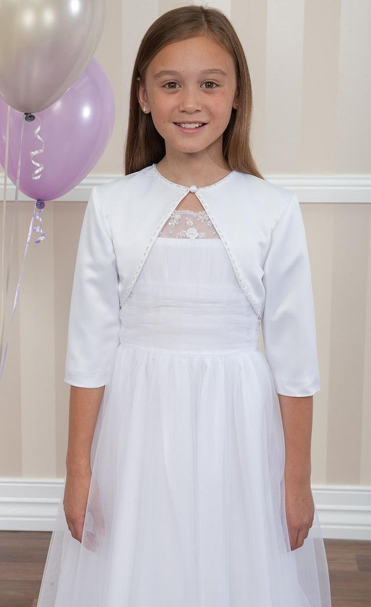 2016 New Collection Flower Girl Dresses Cute Junior Bridesmaid Gowns,Floor Length Tulle Communion Gown,Children Prom Gowns With 3/4 Sleeves Jacket