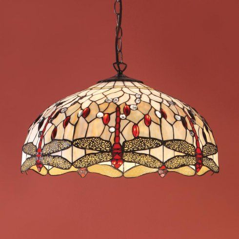 Interiors 1900 Beige Dragonfly Large 3 Light Ceiling Pendant with Dark Bronze Finish