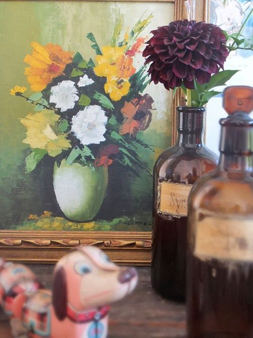 Vintage floral painting - Small Acorns: floral art