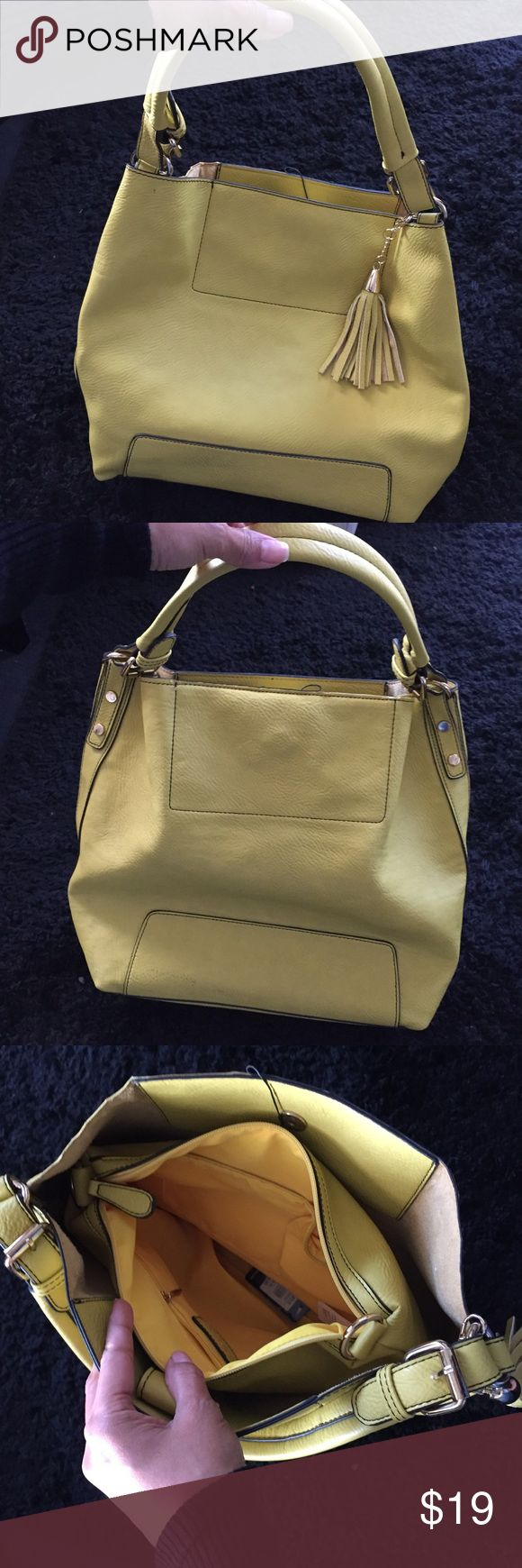 """Yellow hobo bag by Oasis woman's tote handbag Height: 12.5"""" ( not including strap) Width: 15""""  Included removable shoulder strap and dust bag. Super cute and brightens up any outfit! 🌟. Bundle to save $$ aloha!! 🌺😁🌺🌴 Oasis Bags Hobos"""