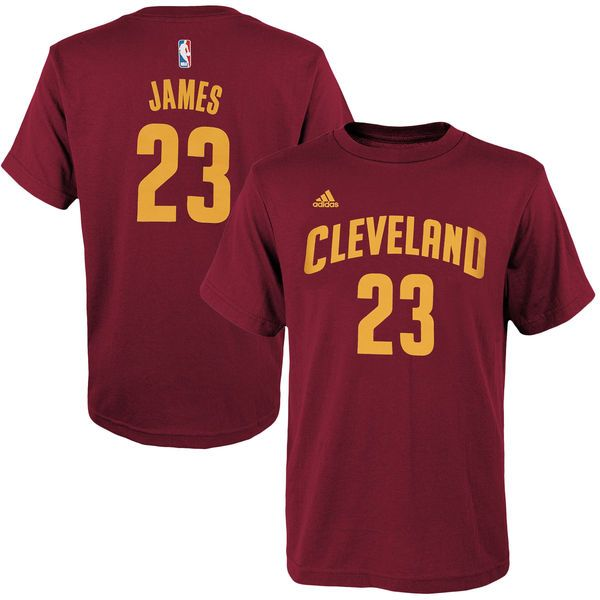 LeBron James Cleveland Cavaliers adidas Youth Game Time Flat Name & Number T-Shirt - Burgundy - $21.99