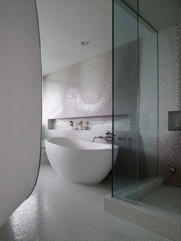 Bathroom Bloom House Mosaic Tiles Wall Porcelain Bath Tub 27 Photos Of Modern And Minimalist Design Interior