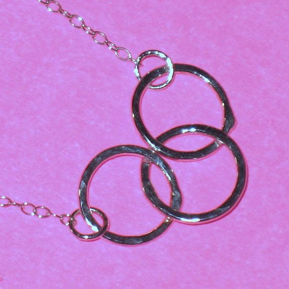 3 Hammered Linked Circles on Chain Sterling Silver by ColieArt, $30.00