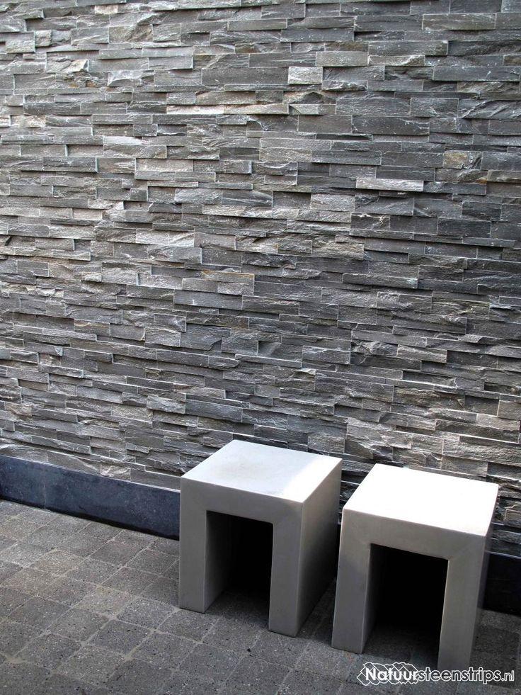 Grijs kwartsiet natuursteenstrips buitenmuur van steenstrips anneke pinterest grijs - Decoreren buitenmuur ...