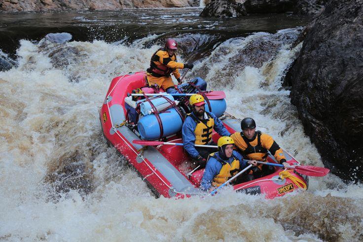 "White water rafting the ""Corkscrew"" rapid on the Franklin River, Tasmania"
