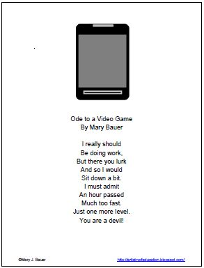 Artistry of Education: Ode to a Video Game: Free Poetry Printable