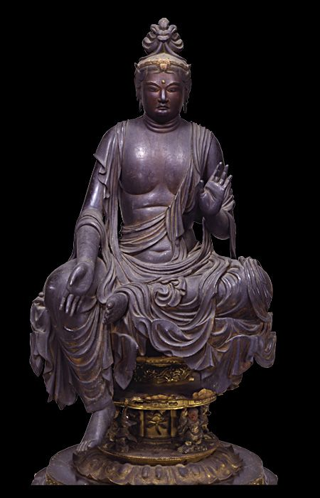 Wooden sitting Bosatsu statue (8-9century), property of Gantoku-ji temple, Kyoto: National Treasure of Japan 国宝 菩薩半跏像(伝如意輪観音)