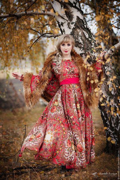 Платье в Русском стиле. Русский стиль в моде. Платье из платков. Ручная…