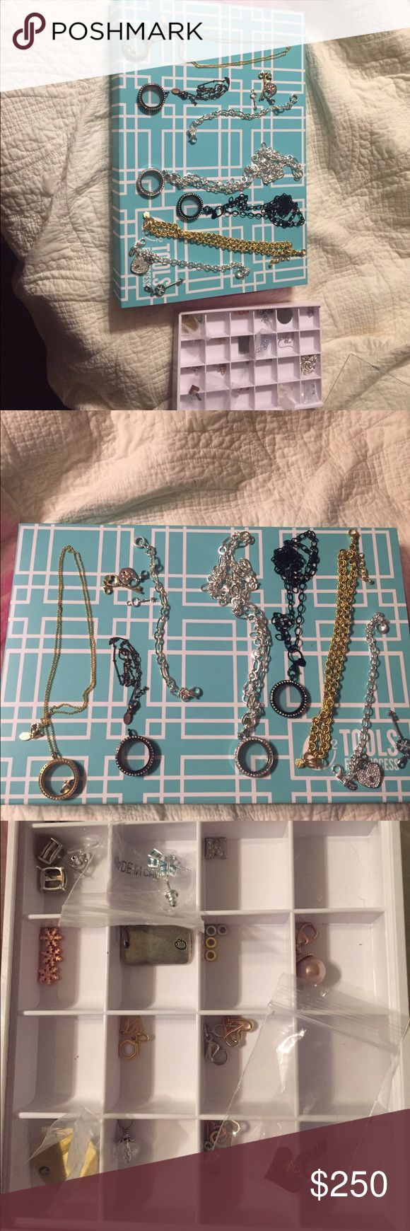 ⭐️⭐️LAST CHANCE ⭐️⭐️Origami Owl lot. Brand new! All pieces are new. 4 lockets with matching chain. 2 bracelets with heart and key charms. 1 gold choker chain. Various charms, spacers, dangles and earrings in the white tray.  Comes with the white tray.  Retails for over $450. Open to reasonable offers.  This is the last chance to make an offer. I am taking to local consignment next week. So make your offers now! Origami Owl Jewelry