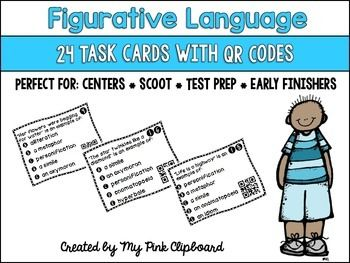Most students need lots of practice to master figurative language skills. These task cards are the perfect tool to help! Use them in centers, small groups, Scoot, scavenger hunts, test prep, independent practice, or for early finishers. Each card features a QR code so students can check their work for immediate feedback.