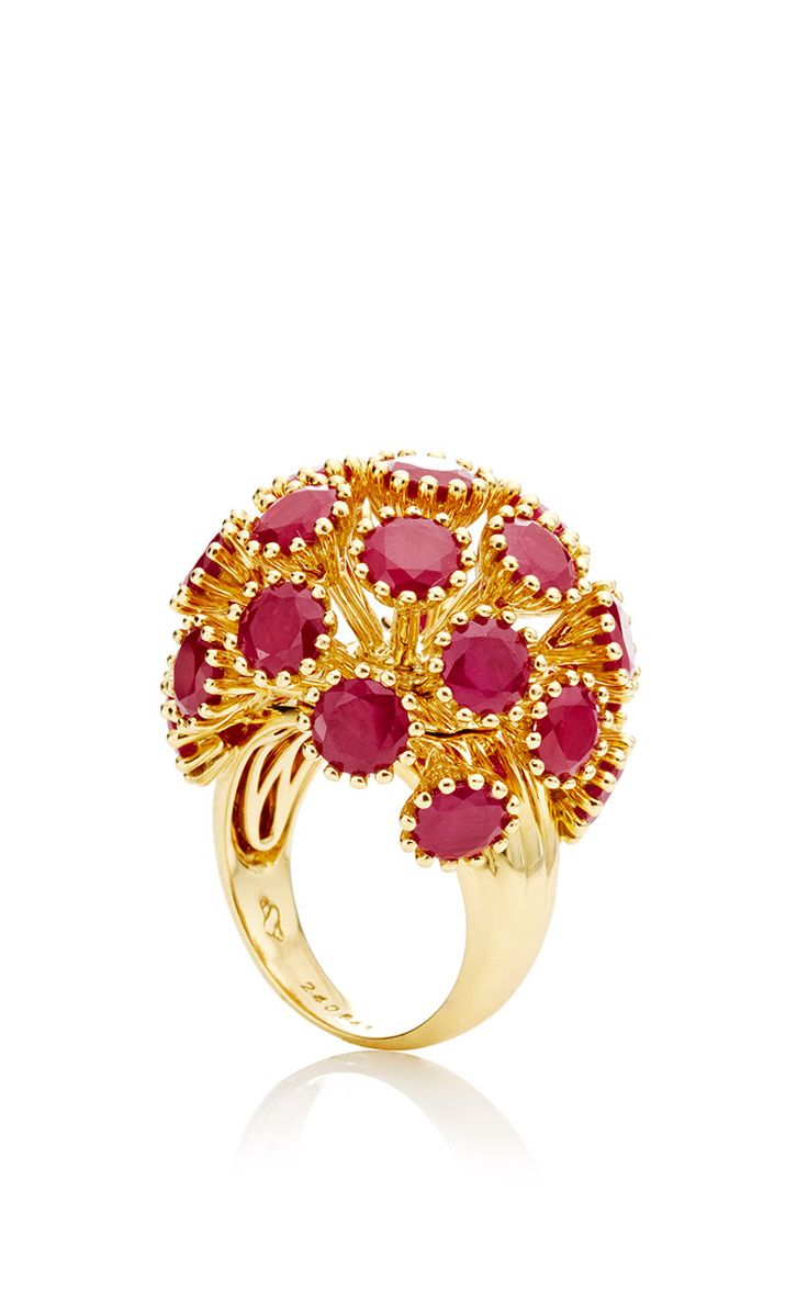 Sputnik ring in ruby this seaman schepps ring features a sputnik inspired design with faceted treated rubies fashioned in a yellow gold setting