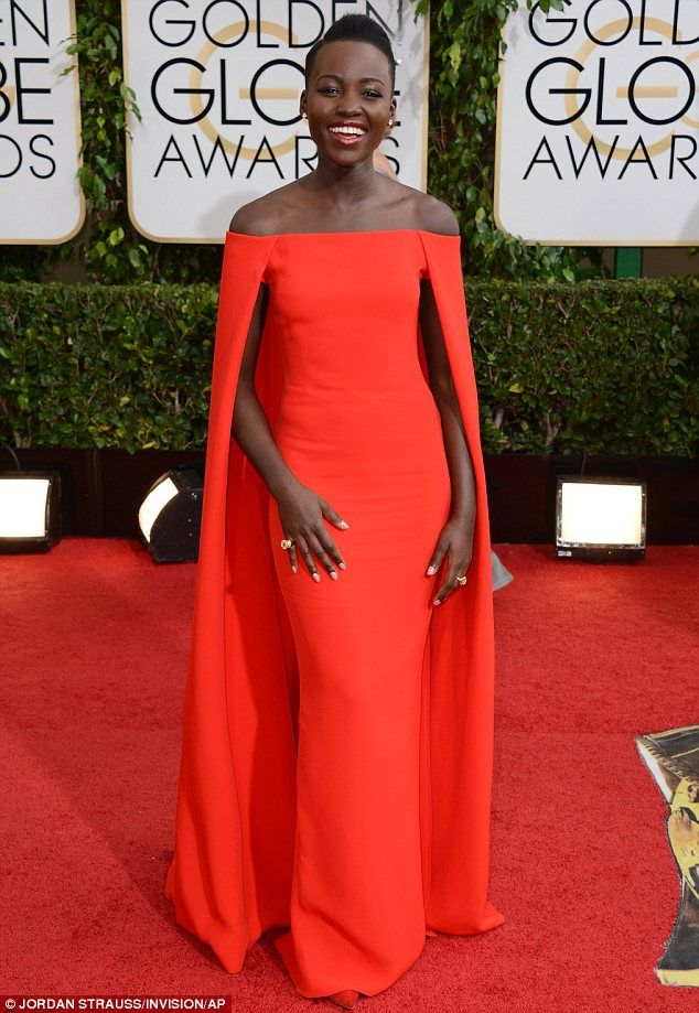 Actress Lupita Nyonogos | Long red golden globes Ralph Lauren dress via; http://www.dailymail.co.uk/femail/article-2539488/Ralph-Laurens-Golden-Globe-winner-Lupita-Nyongos-caped-gown-hits-stores-cool-7-000-sold-out.html