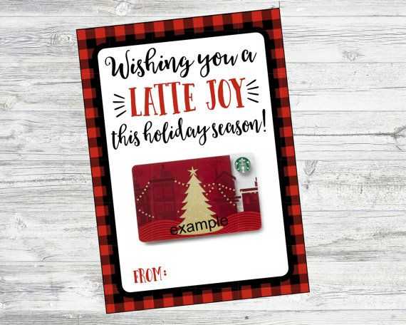 Wishing you a LATTE JOY this holiday season. Coffee Gift Card Card. Perfect for Starbucks gift card. Teacher Gift, Neighbor Gift, Christmas Gift