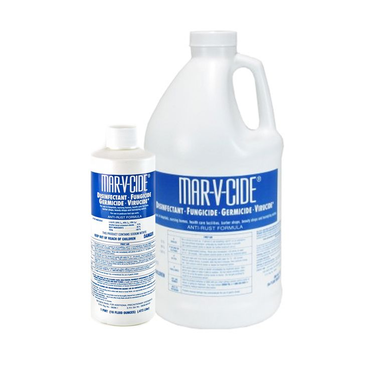 """Mar-V-Cide Disinfectant Kills the AIDS Virus. Using MAR-V-CIDE will cut your disinfectant costs by up to 75%. Also kills """"Athlete's Foot"""" fungi. Effective against Herpes Simplex Type 1 and 2. Contains rust inhibitor. EPA approved MAR-V-CIDE is four times the concentration of our leading competitor, as a hospital disinfectant."""