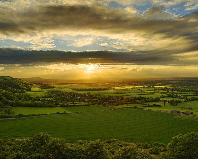 A typical sunset over the South Downs National Park, in West Sussex, England