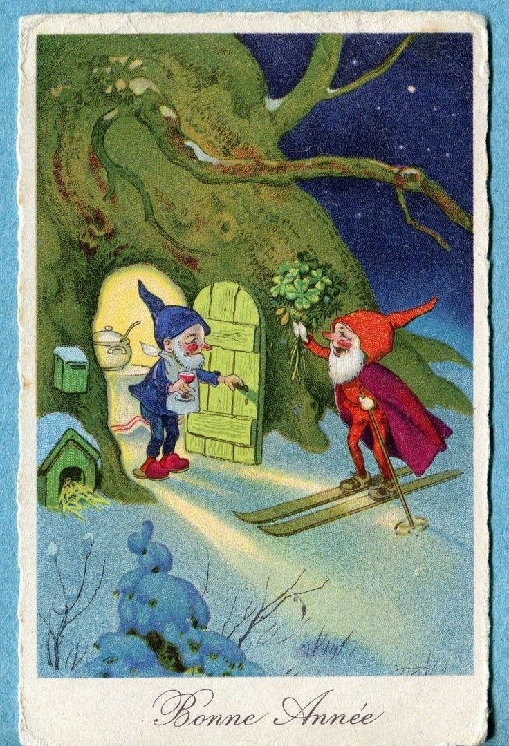 S3038 Elf Gnome Postcard Bonne Année New Year Skiing Clover Wine Friends | eBay