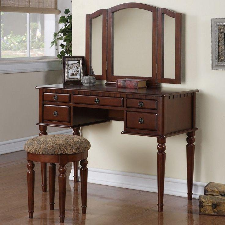 Tri Folding Mirror Vanity Set Makeup Table Dresser w/ Stool 5 Drawer Cherry Wood #Poundex #Contemporary