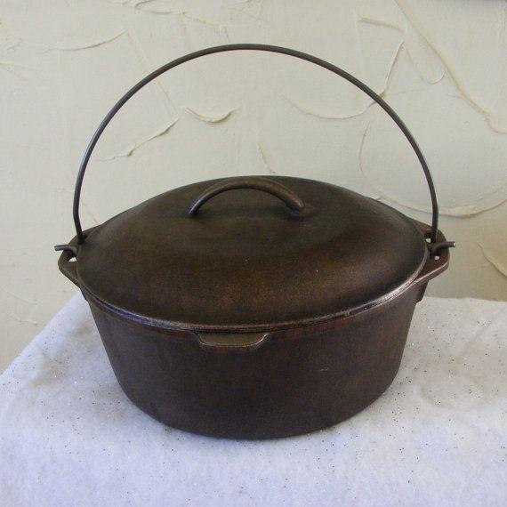 Vintage de hierro fundido horno holandés con hilván tapa #8 hacer muy limpio y listo para usar alambre manejar cocina rústica cocina hervidor olla ~ 6964