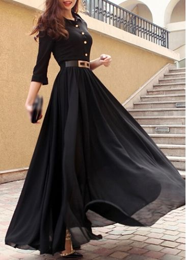 Black Turndown Collar Chiffon Maxi Dress on sale only US$33.78 now, buy cheap Black Turndown Collar Chiffon Maxi Dress at modlily.com