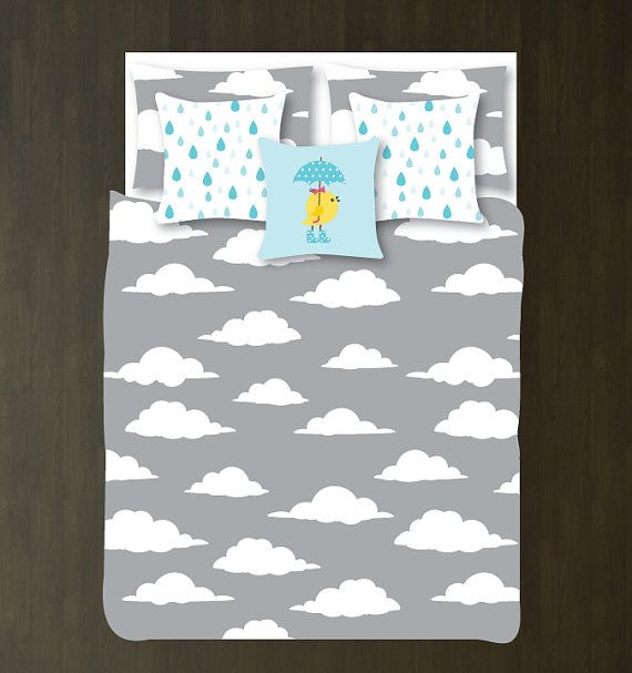 Custom Cloud Duvet Bedding Set-Grey and White-Customize Colors-Daybed-Twin XL-Full/Queen-King-Bedding-Bedroom-Bed-Kids Room-Girl-Boy-Size