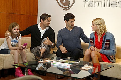Bebe Wood as Shania; Andrew Rannells as Bryan; Justin Bartha as David; Georgia King as Goldie  The New Normal / #NewNormal