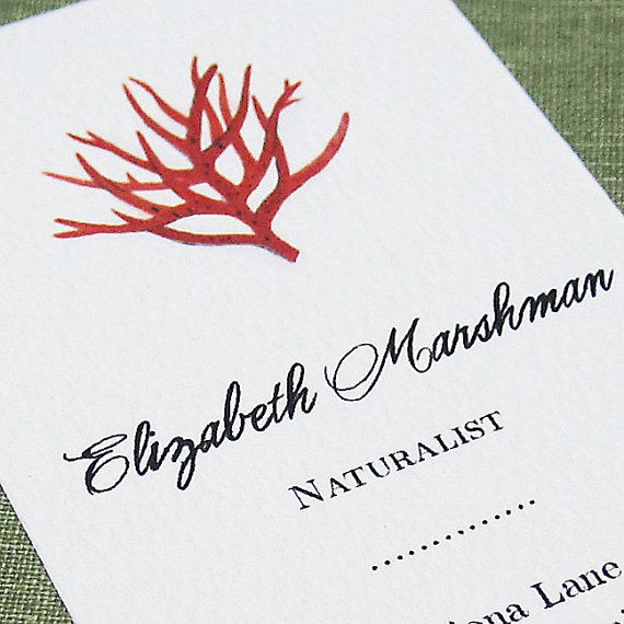 Personalized business card   with Red Coral by nancynikkodesign, $23.50