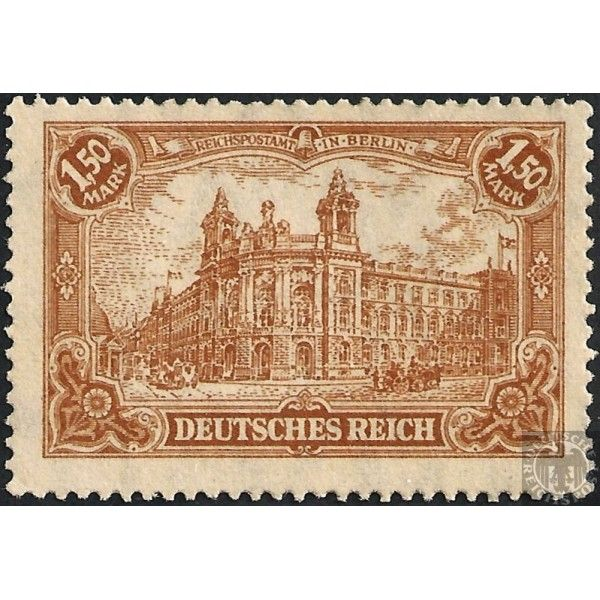 1.50 #Mark * - Reichspostamt in Berlin with flags - German Stamp 1920 #Stamps #GermanStamps #DeutschesReich #ReichsPost #Postage #WeimarRepublic #unused #Reichspostamt #Berlin #Flags #Buildings #anno1920 #1920DR #Watermark #WatermarkRhombus #BrownOcher #Ocher #Brown #sorenmcom