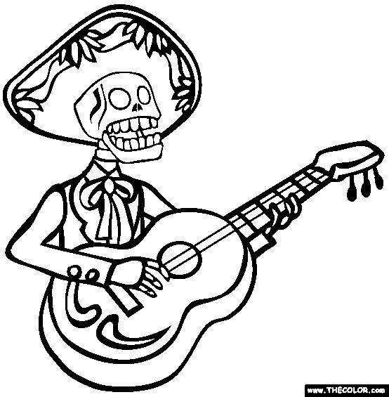 free dia de los muertos coloring pages color in this picture of a mariachi skeleton and others with our library of online coloring pages