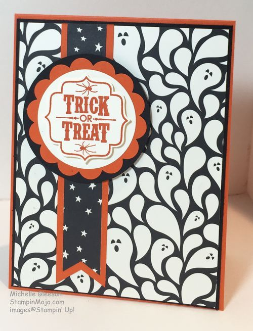 handmade Halloween card ... luv the background paper ... great layout design ... black and white the orange mats and ink ... Stampin' Up!