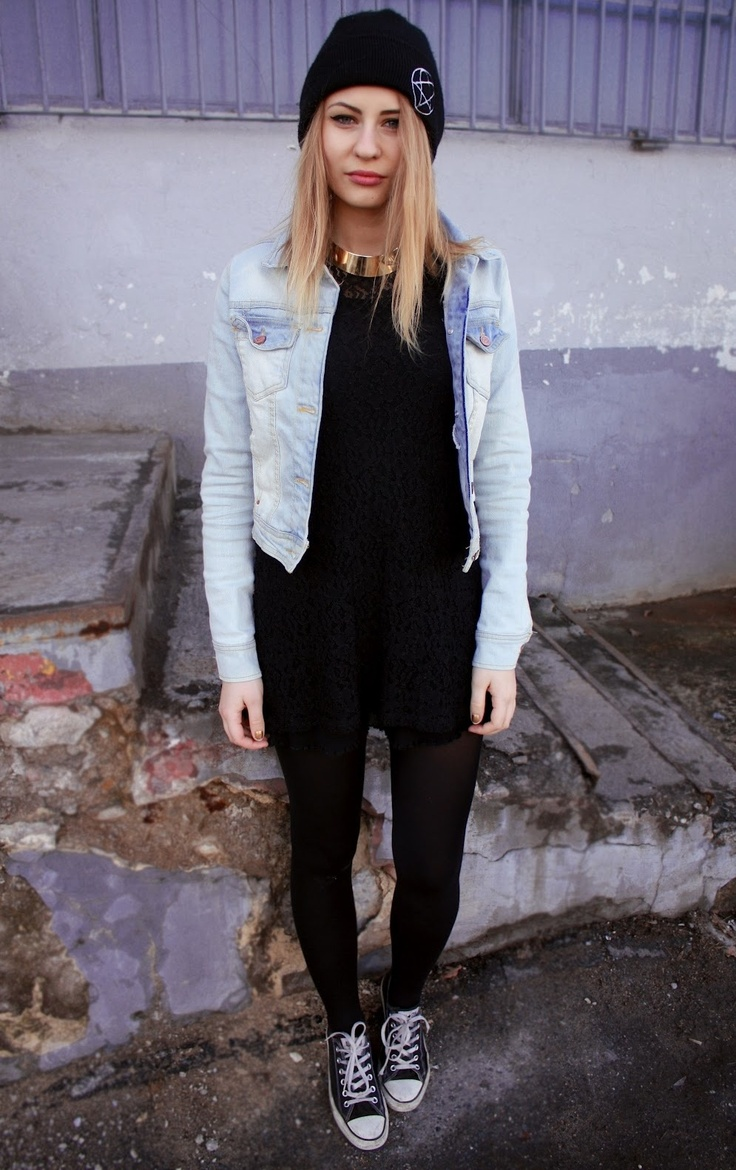 Basically looks like this dress denim jacket converse example - Black Dress Jean Jacket And Converse