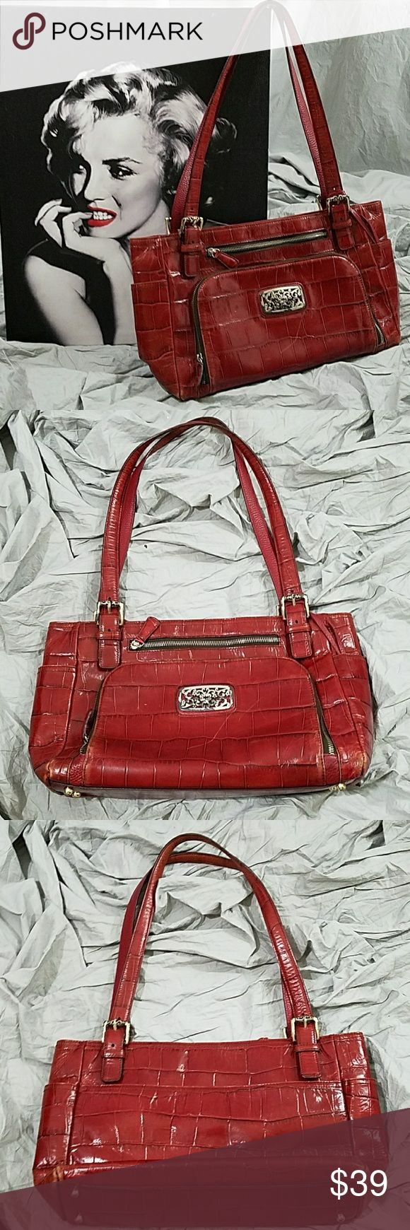 Brighton purse 13 inches across bottom  9.5 height 12 inches top of handle to top of bag  Some wear on bottom corners, see photos Brighton  Bags Shoulder Bags