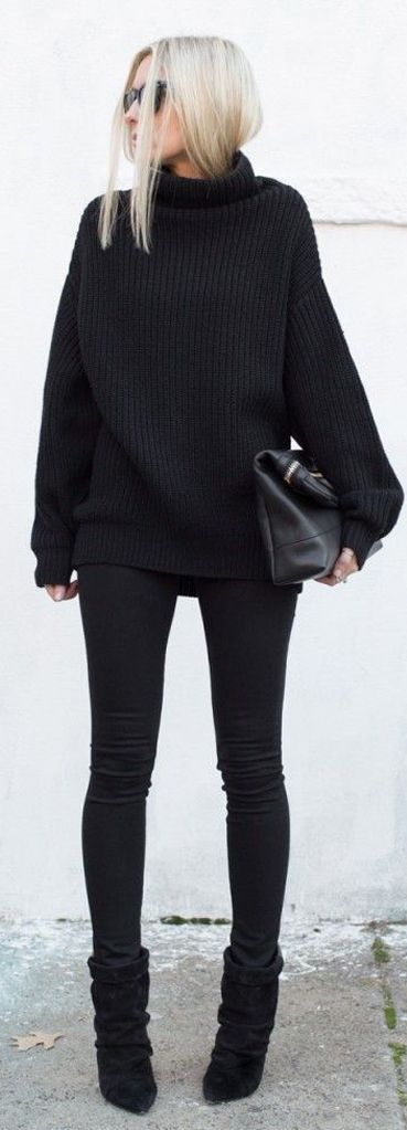 Black Chunky Turtleneck by Mes Voyages à Paris