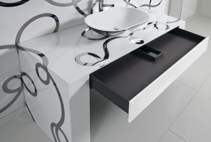 Stylish black drawer for modern bath vanity by Artelinea / Tormento Collection