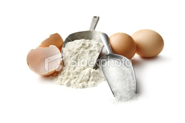 Baking Ingredients: Flour, Eggs and Sugar   Stock Photo   iStock