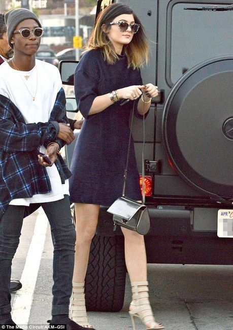 Kylie Jenner wearing Gianvito Rossi Sandals 3.1 Phillip Lim High Collar Shirt Dress Givenchy Pandora Box in Black