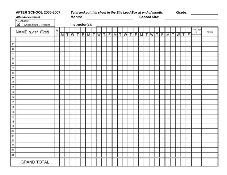 teacher attendance sheet template