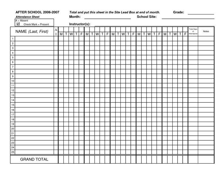 teachers attendance sheet free download