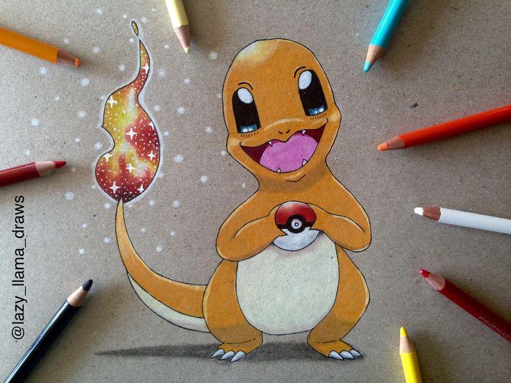 Drawing galaxy Pokémon Charmander