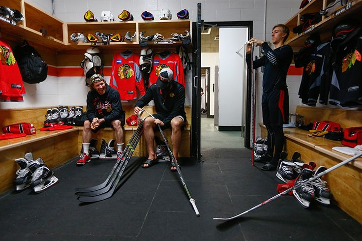 Duncan Keith And Brent Seabrook Talk In The Locker Room