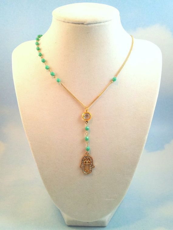 Gold Hamsa Necklace Turquoise Beads Womens by divinitycollection, $55.00