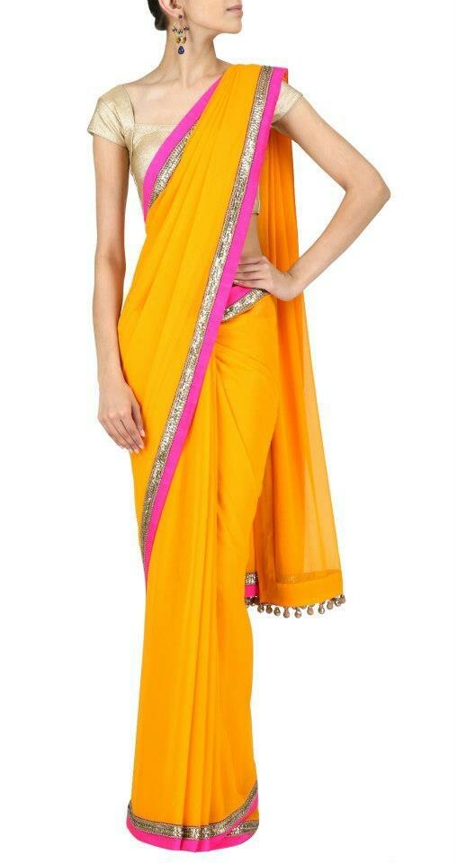 Simple plain saree